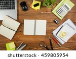 office table desk with set of... | Shutterstock . vector #459805954
