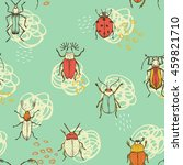 seamless bug pattern. funny... | Shutterstock .eps vector #459821710
