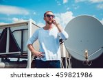 man talking on the phone  the... | Shutterstock . vector #459821986