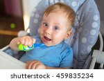 cute baby boy brushing teeth | Shutterstock . vector #459835234