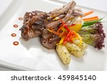 hot meat dishes   bbq ribs with ... | Shutterstock . vector #459845140