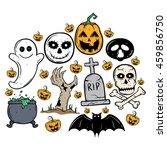 doodle halloween elements set... | Shutterstock .eps vector #459856750
