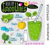 healthy smoothie recipe set.... | Shutterstock .eps vector #459932518