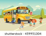 school bus traffic stop law.... | Shutterstock .eps vector #459951304