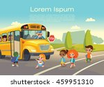 school bus stop. back to school ... | Shutterstock .eps vector #459951310