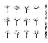 set of black vector trees. | Shutterstock .eps vector #460028788