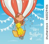 girl with birthday  air balloon ... | Shutterstock .eps vector #460029406