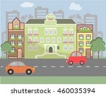 city landscape in flat design... | Shutterstock .eps vector #460035394