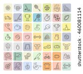 set of fitness and sport doodle ... | Shutterstock . vector #460081114