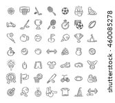 set of fitness and sport doodle ... | Shutterstock . vector #460085278