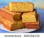 Stock photo cornbread made with yellow cornmeal and buttermilk 460106110