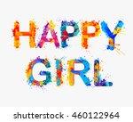 happy girl. vector watercolor...