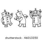 Vector Cartoon Robots Dancing...