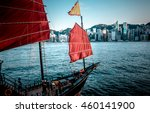 hong kong harbor view with... | Shutterstock . vector #460141900