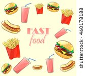 colorful fast food pattern.... | Shutterstock .eps vector #460178188