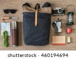 top view of travel stuff on... | Shutterstock . vector #460194694