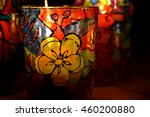 Glass Candle Holder Painted...
