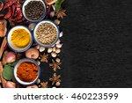 spices with ingredients on dark ... | Shutterstock . vector #460223599