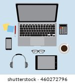 office table top view  business ... | Shutterstock .eps vector #460272796