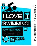 i love swimming   flat style... | Shutterstock .eps vector #460280536