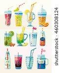 set of summer fresh smoothies... | Shutterstock .eps vector #460308124