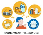woman think about disaster... | Shutterstock .eps vector #460335913