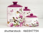 ceramic jars with flower... | Shutterstock . vector #460347754