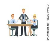 managers sitting behind the... | Shutterstock .eps vector #460349410