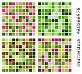 set of four abstract green pink