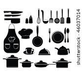 kitchen tools set silhouette | Shutterstock .eps vector #46037014