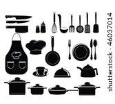 kitchen tools set silhouette | Shutterstock .eps vector #46037014