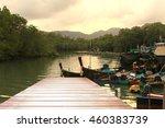 wooden pier on the beach  wood... | Shutterstock . vector #460383739