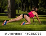 young woman working out in a...   Shutterstock . vector #460383793