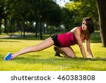 young woman working out in a...   Shutterstock . vector #460383808