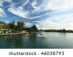 Seychelles. Mahe island. Coastline and port - stock photo