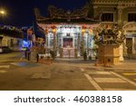 Small photo of George Town, Malaysia - March 24, 2016: Dusk view of the Choo Chay Keong Temple adjoined to Yap Kongsi clan house, Armenian Street, George Town, Penang, Malaysia on March 24, 2016.