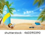 summer on beach. relaxing in... | Shutterstock . vector #460390390