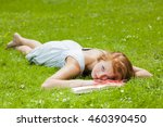 young red haired woman student... | Shutterstock . vector #460390450