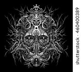 techno wood shaman head  mystic ... | Shutterstock . vector #460400389