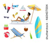 accessories for the summer... | Shutterstock . vector #460407004