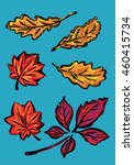 a set of stylized autumn leaves ... | Shutterstock .eps vector #460415734