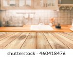 empty wooden table and blurred... | Shutterstock . vector #460418476