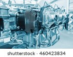 Small photo of Piece of equipment of the aircraft engine closeup, a aircraft engine detail in the exposition