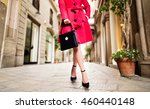 woman with red coat black... | Shutterstock . vector #460440148