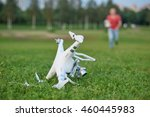 crashed quadrocopter in park.... | Shutterstock . vector #460445983