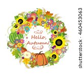 autumnal decorative wreath | Shutterstock .eps vector #460453063
