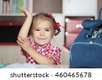 portrait of cute smiling girl... | Shutterstock . vector #460465678