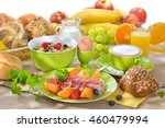 laid breakfast table with... | Shutterstock . vector #460479994