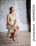 girl in a light dress in a... | Shutterstock . vector #460485034