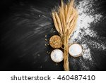 wheat and flour on black... | Shutterstock . vector #460487410